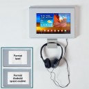 Support mural antivol AUDIO p/ tablettes IPAD ou Androïd a/CASQUE