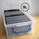 Boîte plastique SPECIAL CD/DVD 6.5l transl.av/couvercle 430x180x160