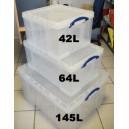 Boîte plastique translucide à couvercle et poignées, contenance 145L dim. l710xp440xh230