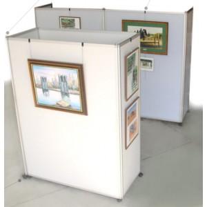 Cloison - panneau d'expo mobile en L sur roulettes: l'ensemble de 2 panneaux ( 71+141 xH210cm)