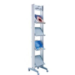 Présentoir ALU sur roulettes simple face pour 4 piles de brochures A4 avec tablettes métal ou plexi