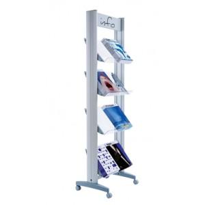Présentoir ALU sur roulettes simple face pour 8 piles de brochures A4 avec tablettes métal ou plexi