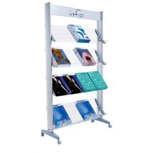 Présentoir ALU sur roulettes simple face pour 16 piles de brochures A4 avec tablettes métal ou plexi