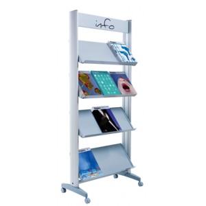 Présentoir ALU sur roulettes simple face pour 12 piles de brochures A4 avec tablettes métal ou plexi