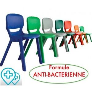 """Chaise """"anti-bactérienne """"monobloc polyvalente ultra-résistante indoor - outdoor pour classes, collectivités"""