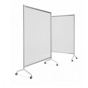 Cloison de protection/séparation sur roulettes transparente ou blanche opaque