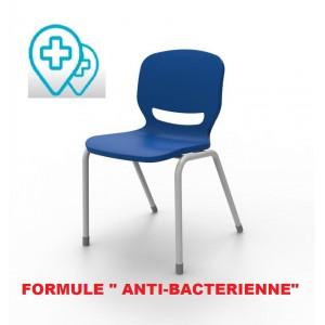"""Chaise """"anti-bactérienne """" avec piétement acier 4 pieds pour classes, collectivités"""