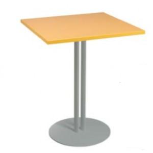 Table CARREE ECO plateau stratifié 60X60Xh74cm pieds tubes elliptiques en acier socle rond