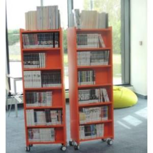 Tour à mangas ou livres de poche 6 niveaux H115xP32xL50 bois mélaminé s/roulettes 22 coloris au choix