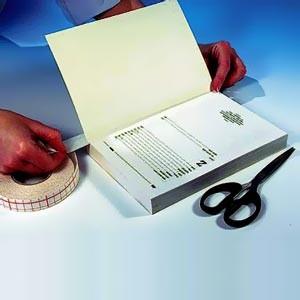 Papier spécial réparation de charnières, blanc L2 ou 3cm x 50m en boîte distributrice.