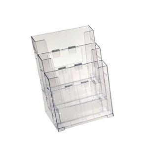 Corbeille comptoir 3 compartiments plastique PS transparent 3 formats