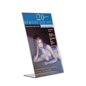 Porte-visuels inclinés en plastique transparent pour insertion d'un document en hauteur 3 formats