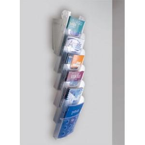 Présentoir mural design EN COLONNE de 3 ou 6 corbeilles A4 en plastique