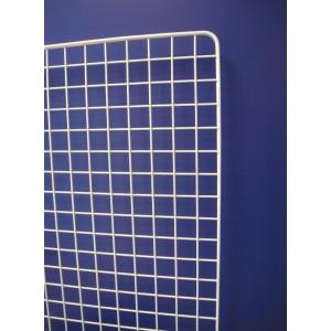 Grilles d'expo ECO simples sans pied, double cadre époxy blanc, maille 5x5cm
