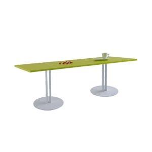 Table de lecture/travail double 140x60cm plateau stratifié ANIS pieds tubes elliptiques en acier GRIS socle rond
