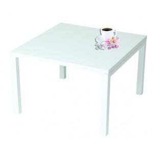 Table basse carrée 60X60xh40cm plateau stratifié et 4 pieds métal blanc, gris ou noir