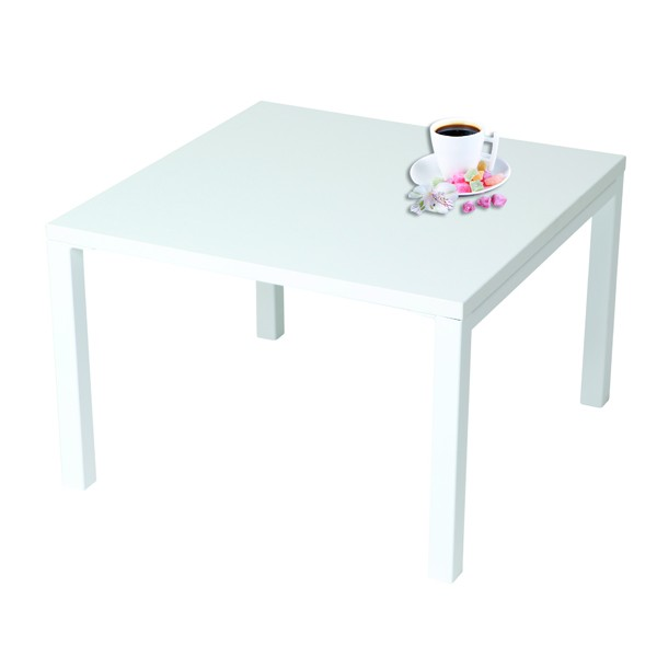 Table Basse Eco Carree Plateau Stratifie 4 Pieds Metal