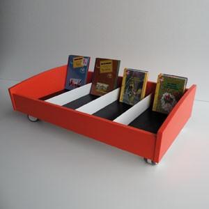 bac albums en bois au sol simple face sur roulettes. Black Bedroom Furniture Sets. Home Design Ideas