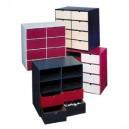 Etagère 8 casiers hauts en carton avec 8 tiroirs hauts