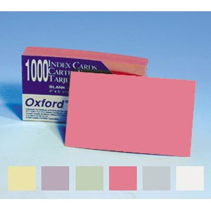 SOLDEES Fiches cartonnées OXFORD 12.7 x 20.3cm  160g, vierges COULEUR, le pack de 500